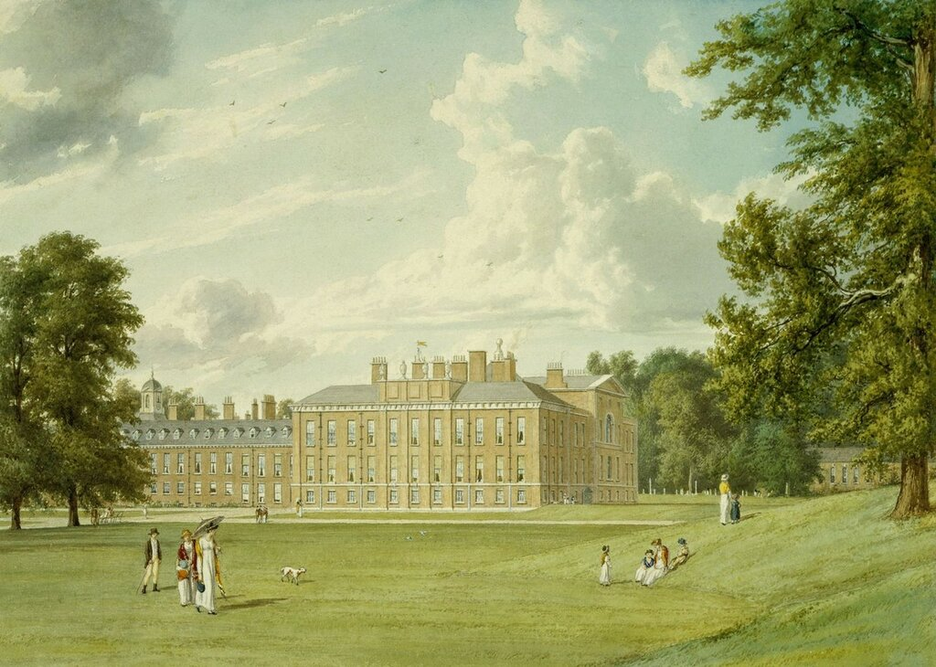 William Westall (1781-1850)Kensington Palace: The south and east fronts  1819