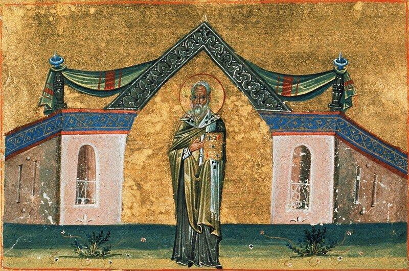 Святой Преподобный Иоанн, Епископ Поливотский. Миниатюра Минология (Месяцеслова) императора Василия II. Константинополь, 985 год.