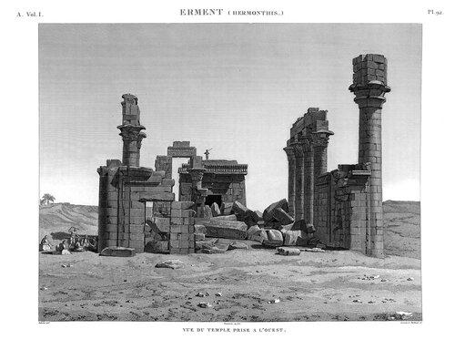 Храм в Гермонтисе, гравюра наполеоновской экспедиции
