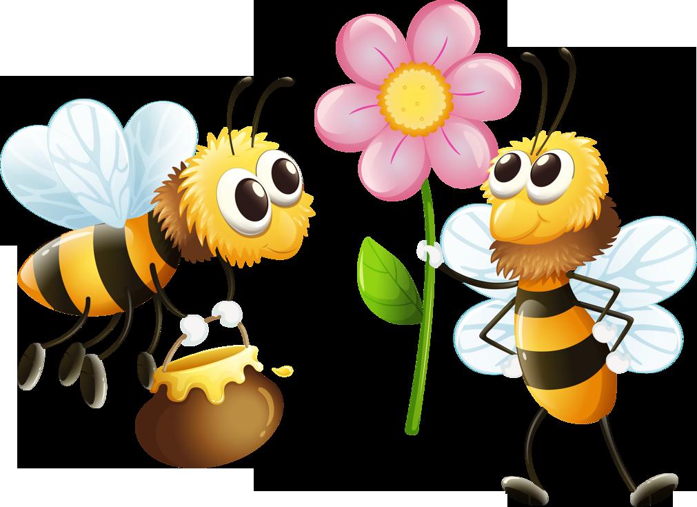 Лето, картинка с пчелами и цветами смешные
