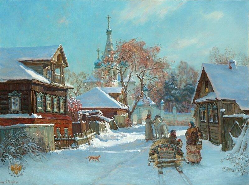 Анатолий Анатольевич Коробкин - Перед Рождеством. Холст, масло, 80х60. 2011 г.