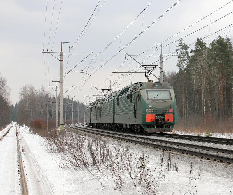 2ЭС4К-017 на перегоне Войтоловка - Мга