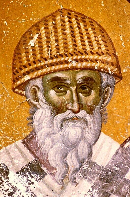 Святитель Спиридон, Епископ Тримифунтский, Чудотворец. Фреска церкви Святых Иоакима и Анны (Королевской церкви) в монастыре Студеница, Сербия. 1314 год.