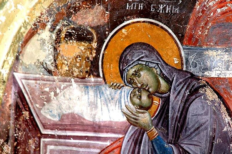 Рождество Христово. Фреска церкви Святых Иоакима и Анны в монастыре Студеница, Сербия. 1314 год. Фрагмент.