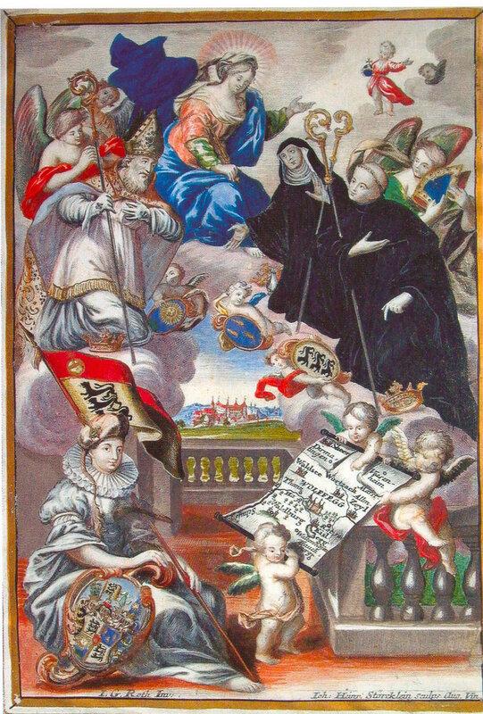 Die Patrone der fürstlichen Familie Waldburg Die heiligen Geschwister Wunibald, Willibald und Walburga Kolorierter Kupferstich