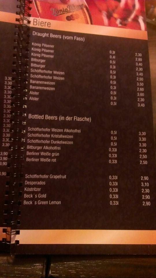 Цены на пиво в Нортхайме