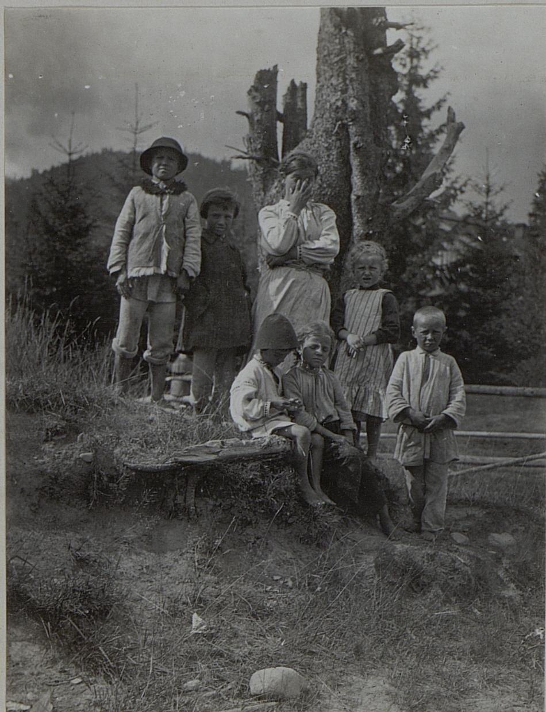 Галиция. Крестьянские дети в Перегинском. Февраль 1916