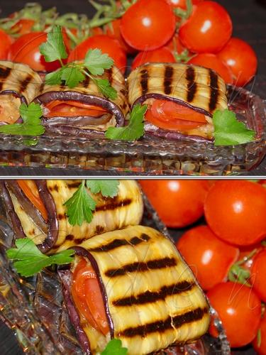 Баклажаны жаренные, с дипом из печеных баклажан и помидорами