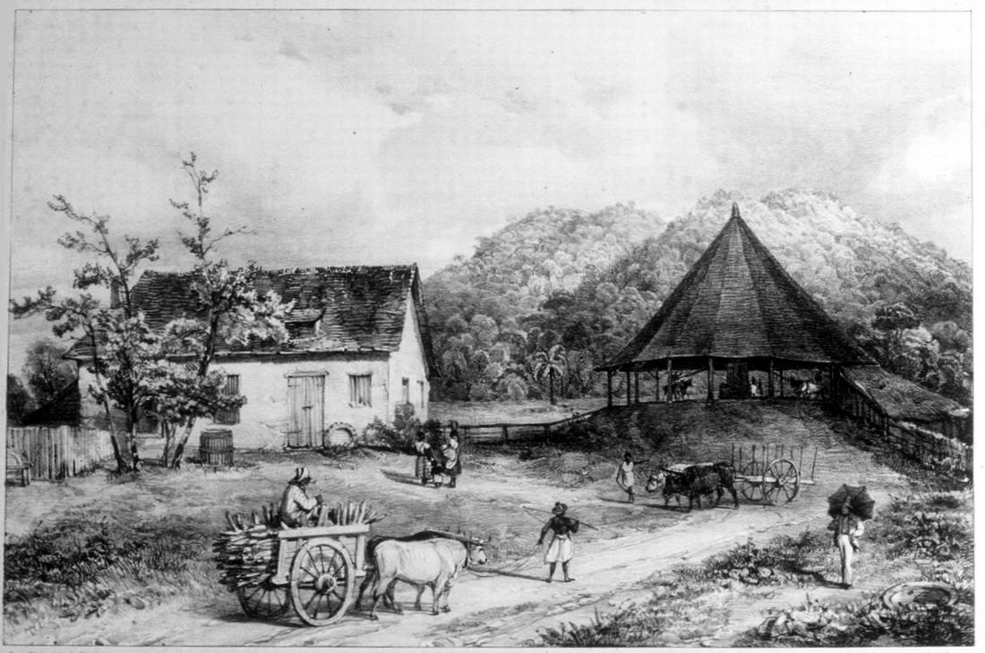Труд рабов на сахарном заводе (Тринидад, 1836 год)