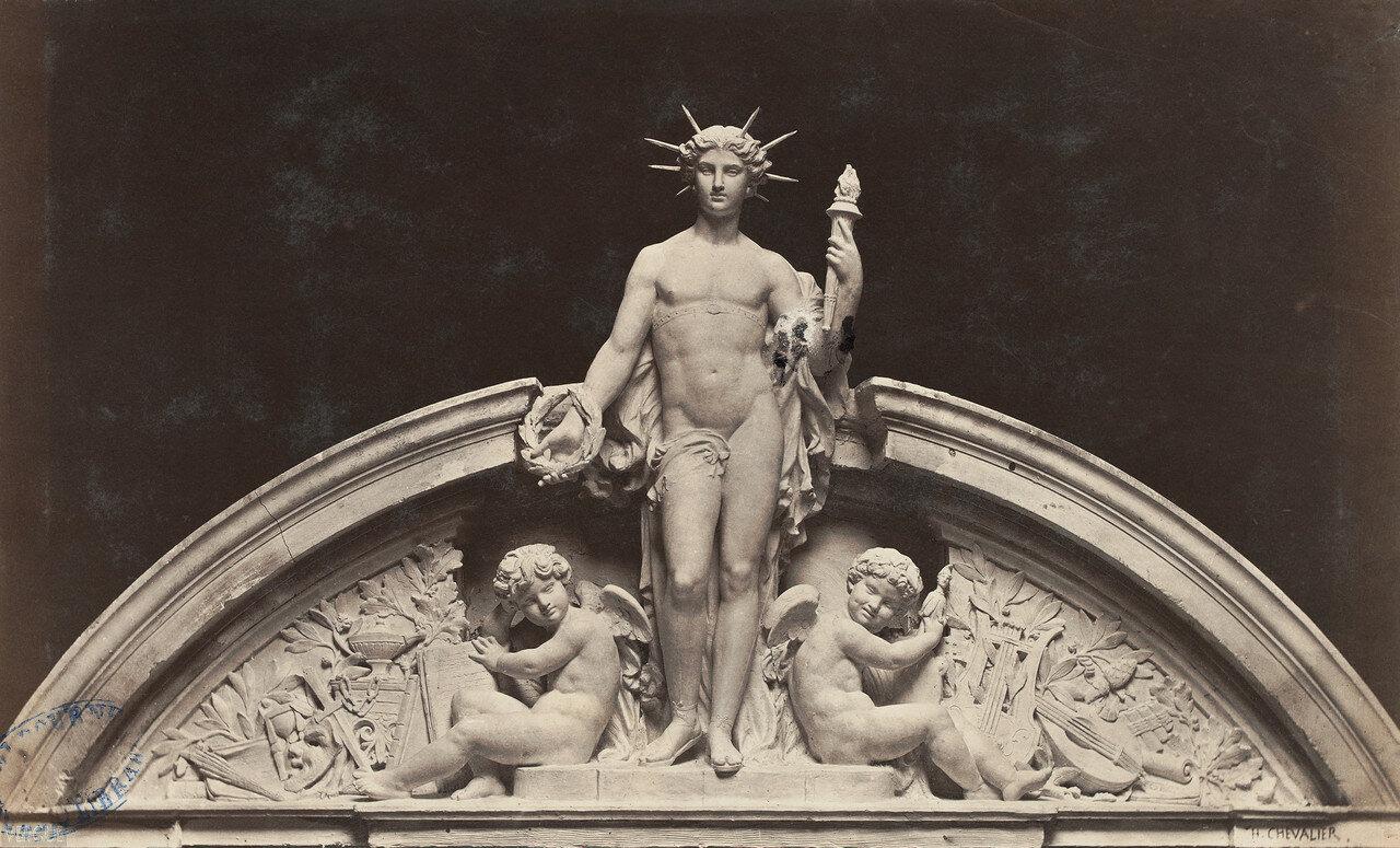 Театр дю Водевиль. Фронтон. Гений комедии Шевалье, 1868