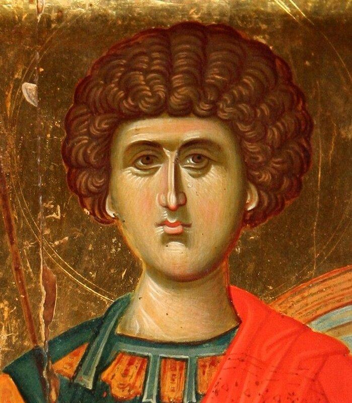Святой Великомученик Георгий Победоносец. Византийская икона. Лик.