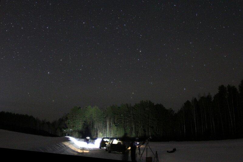 Астрономический выезд в Жданухино: телескоп и машины на фоне леса