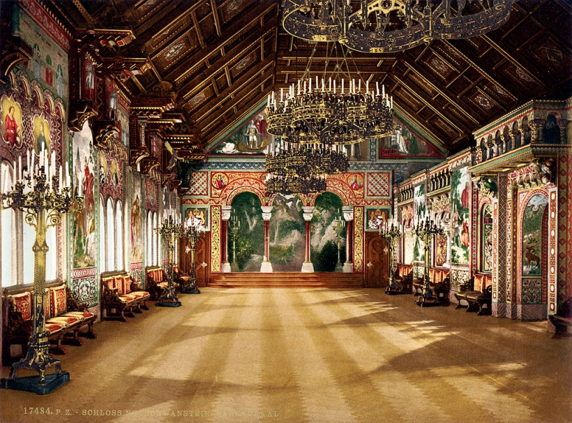 Sängerhalle (singer's hall, music room), Neuschwanstein Castle, Upper Bavaria, Germany. Photograph by Joseph Albert 1886