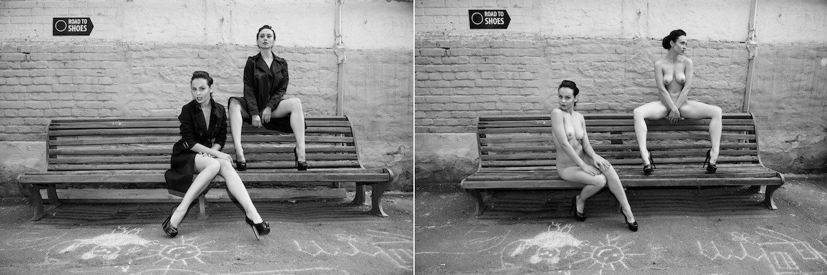 Две обнажённые девушки гуляют по осеннему Киеву 27