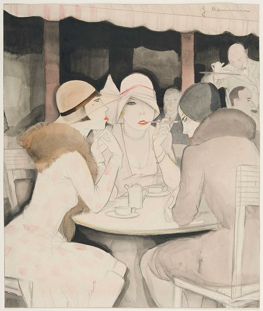 At Kranzler's, 1929 by  Jeanne Mammen (German, 1890-1976)  Jeanne Mammen (German, 1890-1976) Watercolor and pencil on paper,Des Moines Art Center