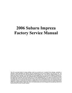 Книга 2006 Subaru Impreza Factory Service Manual