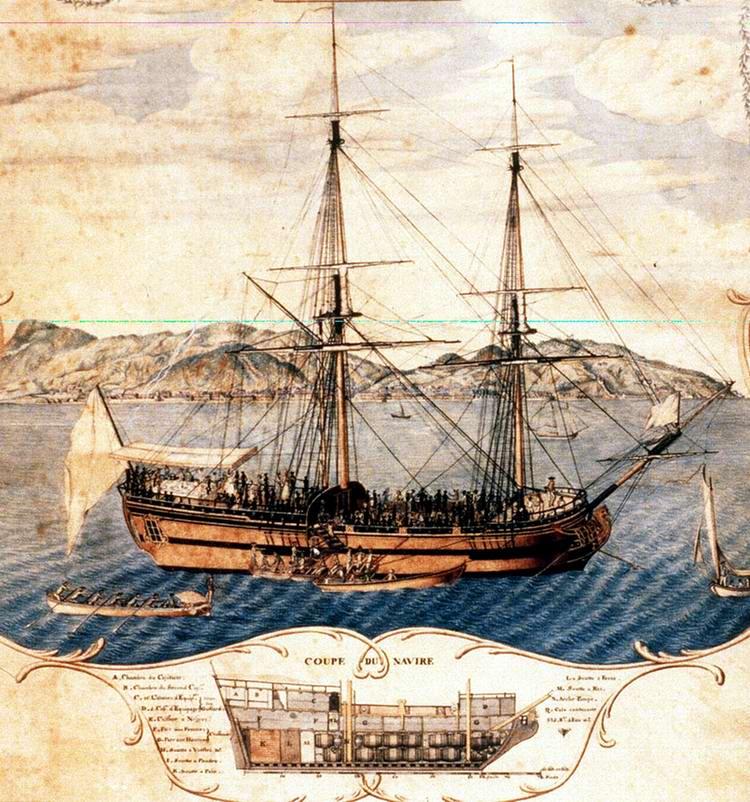 Судно для перевозки рабов La Marie-Seaphique у побережья Гаити (1773 год)