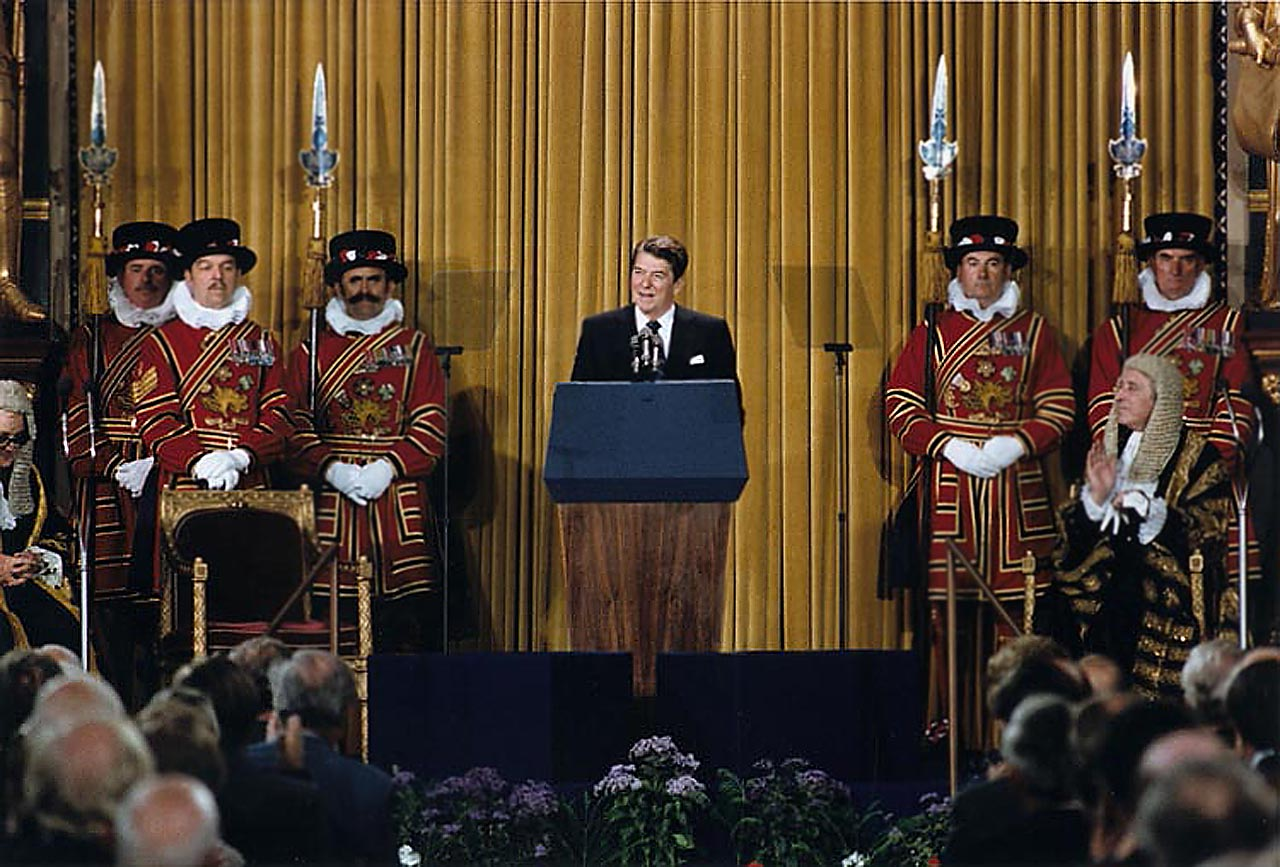 President Reagan addressing British Parliament, London, United Kingdom. 8 June 1982