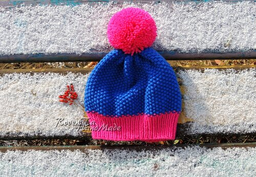 шапочки, шапка спицами, стильная шапка, модная шапка, красивая шапка, ручная работа, вязание спицами, шапка с помпоном, неоновая пряжа, итальянская пряжа,roventa-handmade, Красноярск