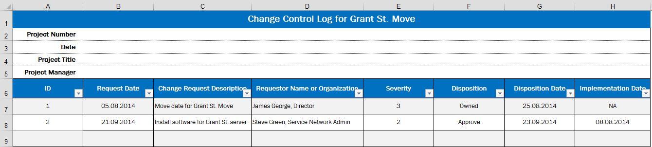 Рис. 4. Журнал контроля изменений для проекта Grant St. Move