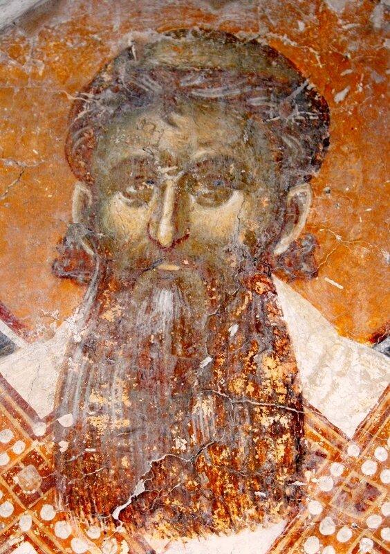 Святитель Савва, первый Архиепископ Сербский. Фреска церкви Св. Никиты в Чучере, Македония. Иконописцы Михаил Астрапа и Евтихий. Около 1316 года.