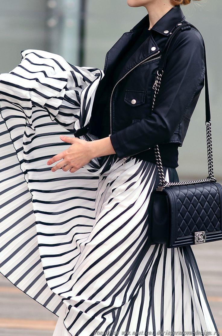 полосатая юбка плиссе