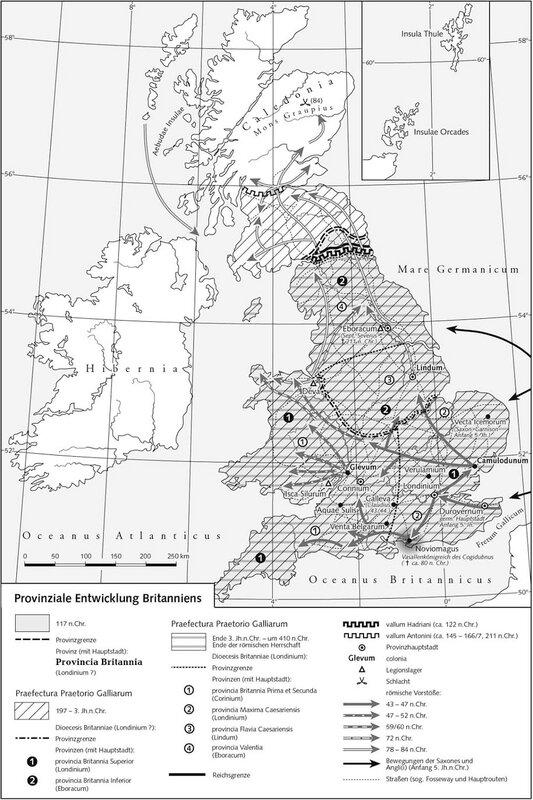 Карта Британии с валами Адриана и Антонина
