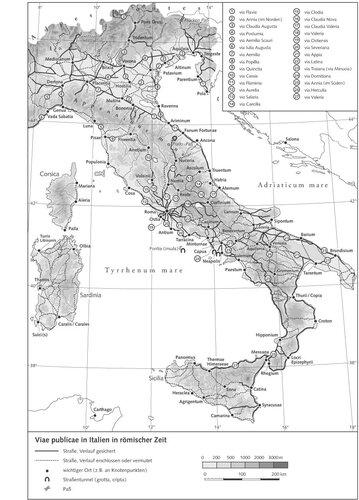 Карта системы римских дорог на территории Италии
