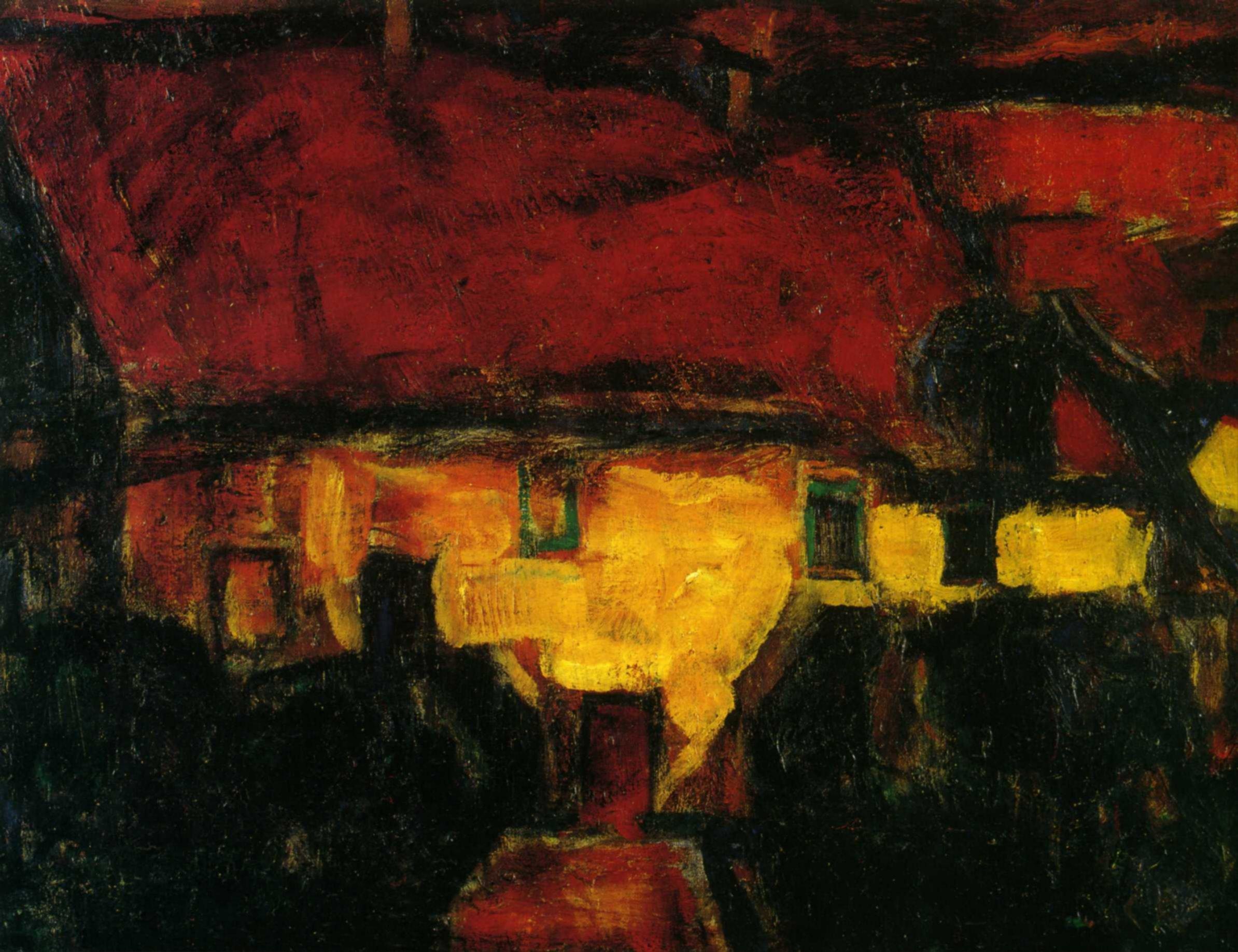 Кристиан Рольфс (1849 — 1938) — немецкий художник, яркий представитель немецкого экспрессионизма. 1913. «Дом с красной крышей»