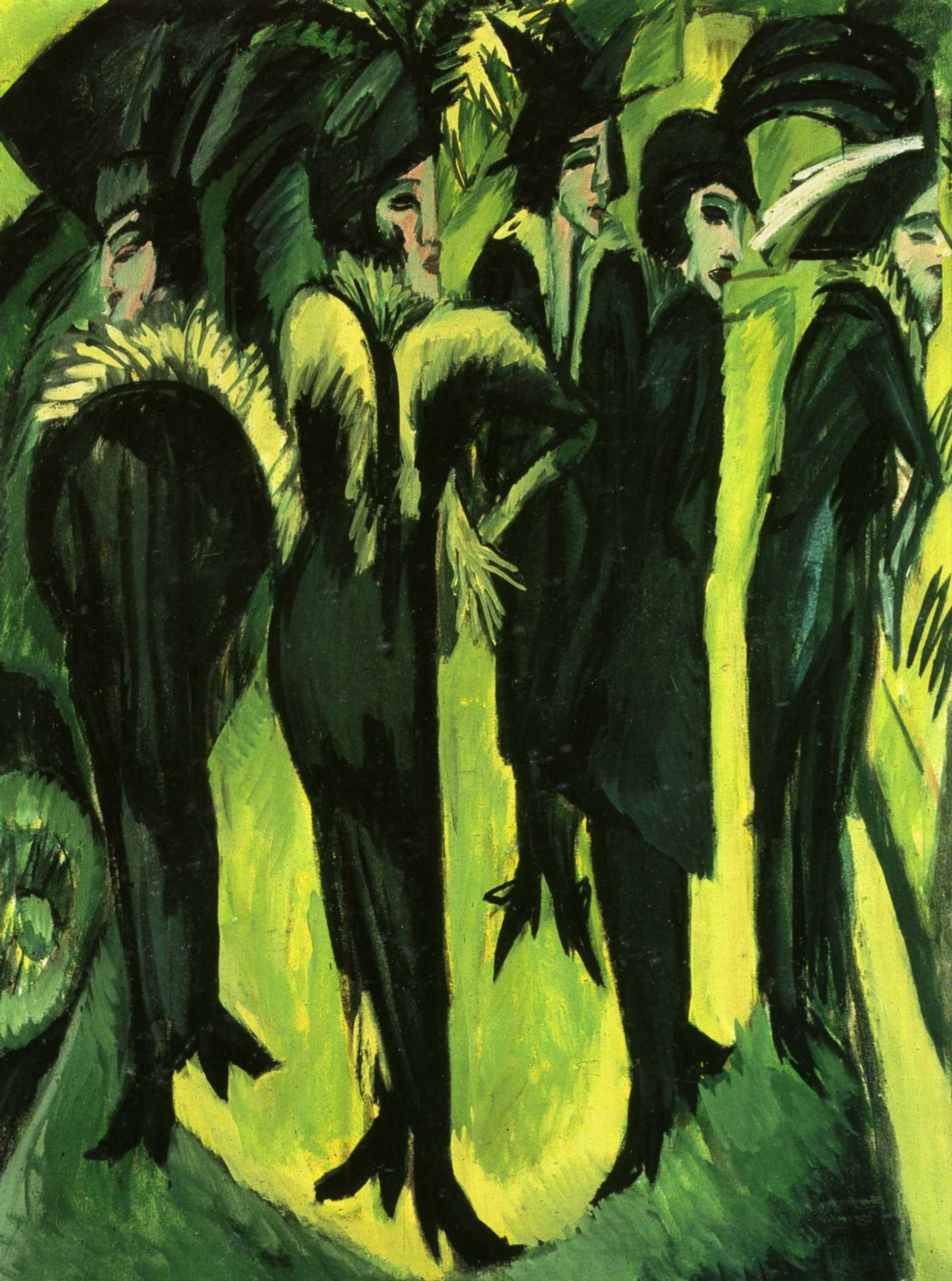 Эрнст Людвиг Кирхнер (1880 — 1938) — немецкий художник, график и скульптор, представитель экспрессионизма. 1913. «Пять женщин на улице»