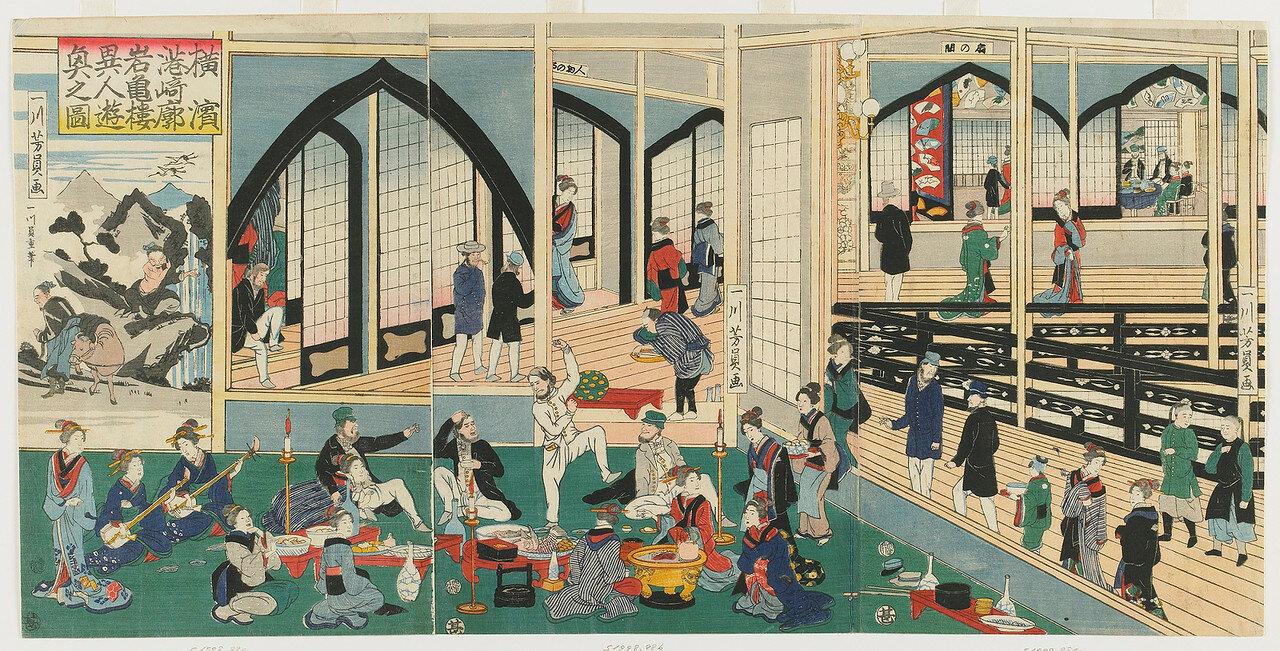 1861. Разгул иностранцев в  Ганкиро в Иокогаме