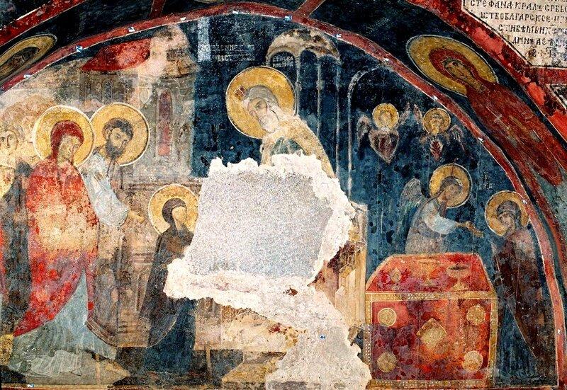 Введение Пресвятой Богородицы во храм. Фреска XIII века в Боянской церкви (церкви Свв. Николая и Пантелеимона) близ Софии.
