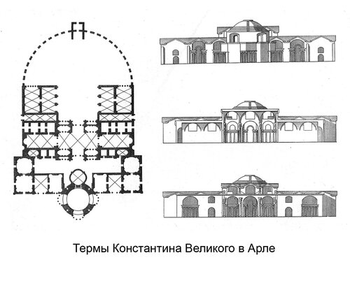 Термы Константина Великого в Арле, чертежи