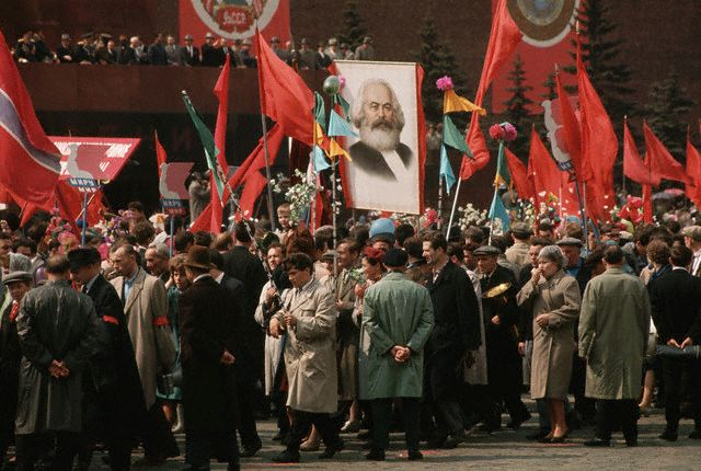 Workers March in Annual May Day Parade, Moscow