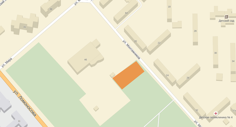 Расположение дома на ул. Монтажников 19