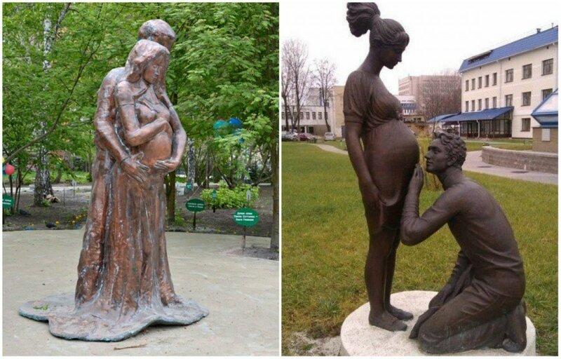 Памятники беременным женщинам Новосибирск, Россия / Минск, Беларусь
