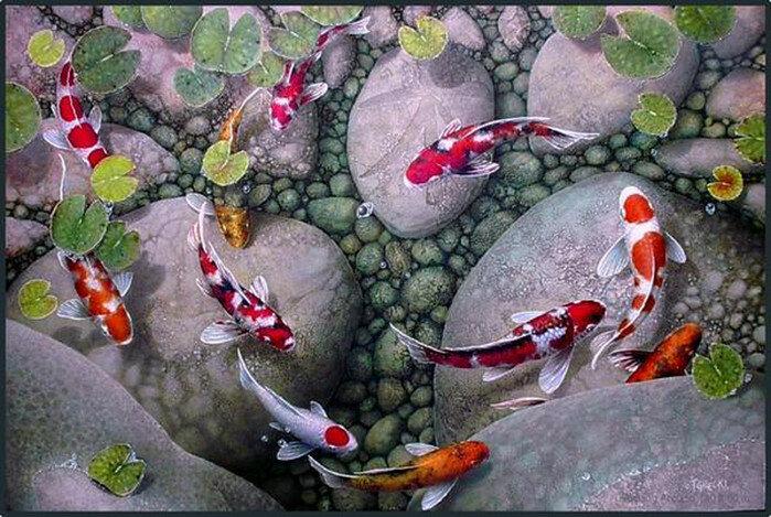 Художник Terry Gilecki. Японский карп Кои. Богатство, традиции и живопись