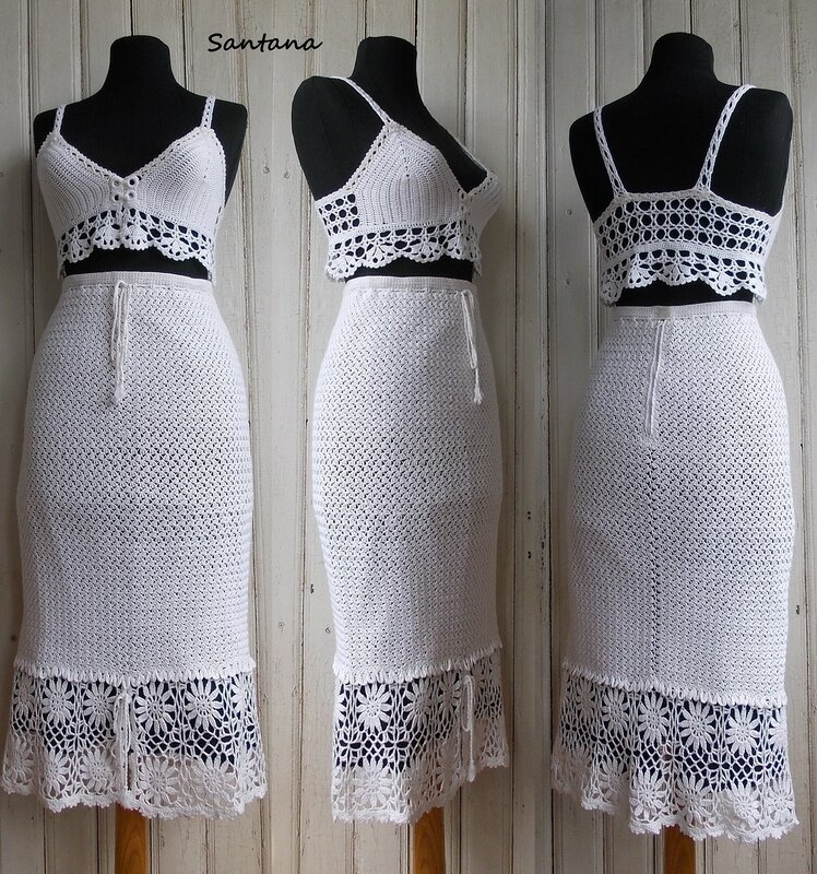 White suit made of viscose (skirt, bodice)
