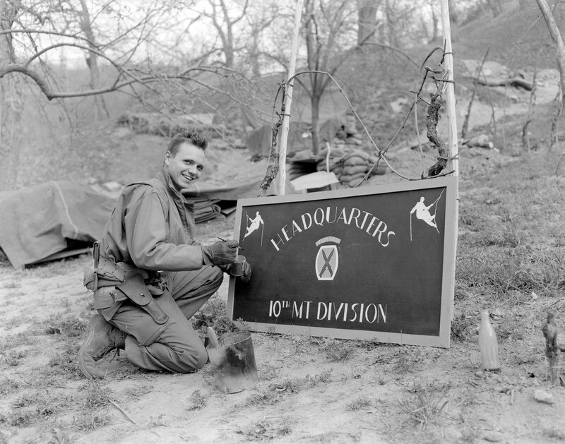 [1945] GI painting sign Headquarters 10th Mountain Division, Italy