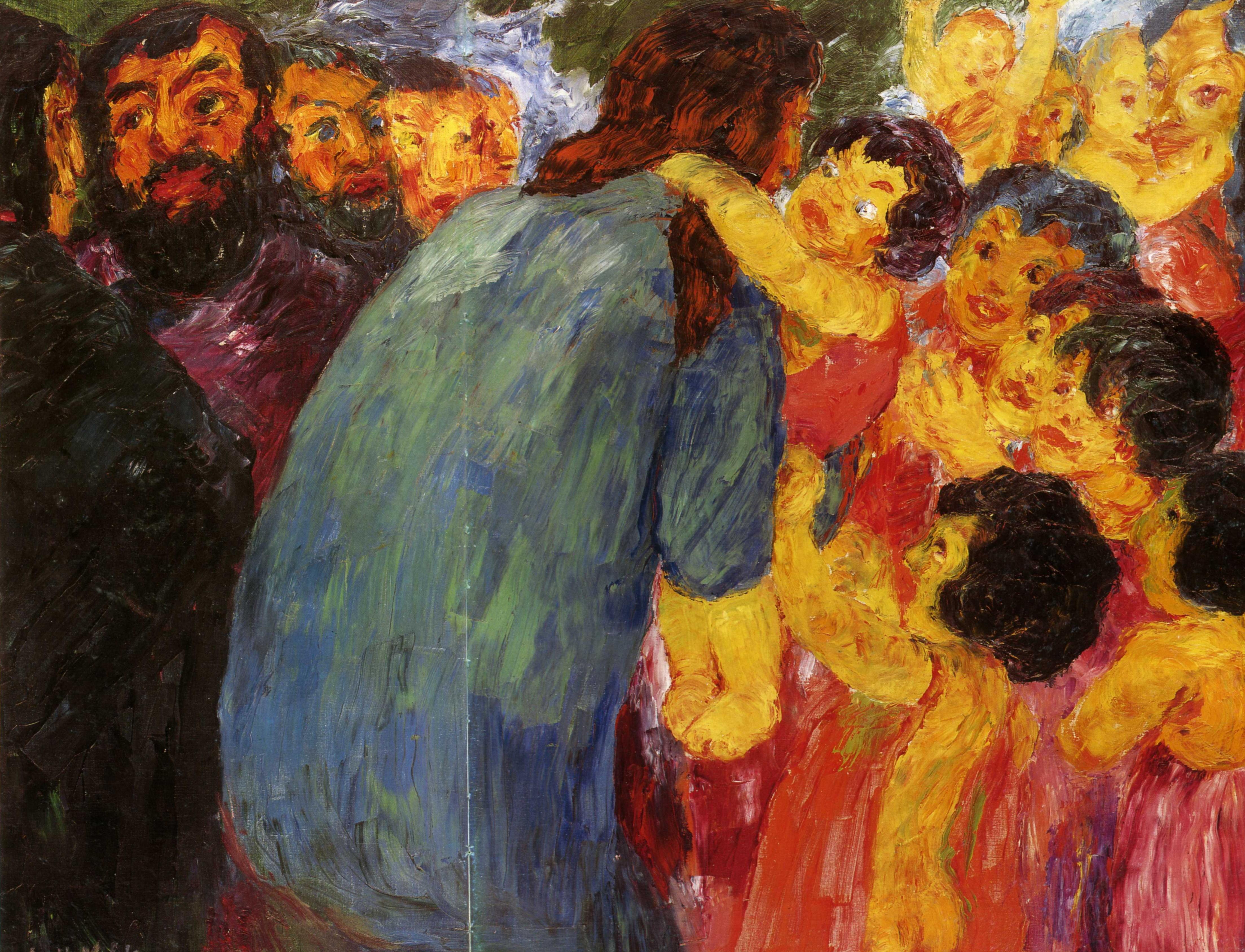 Эмиль Нольде (1867 — 1956) — один из ведущих немецких художников-экспрессионистов, считается одним из величайших акварелистов XX века. 1910. «Христос и дети»