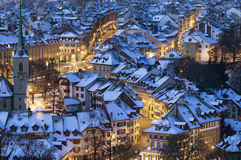 Snow covers the roofs of houses in Bern, Switzerland on December 29, 2014.jpg