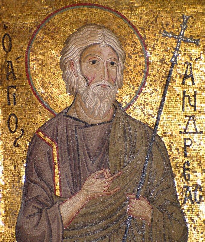 Святой Апостол Андрей Первозванный. Византийская мозаика в капелле Марторана в Палермо. 1143 - 1151 годы.
