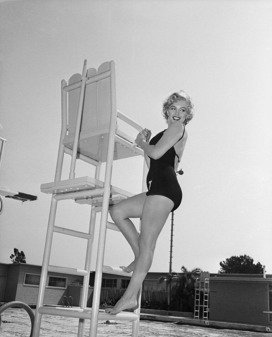 Marilyn Monroe Climbing Lifeguard Tower