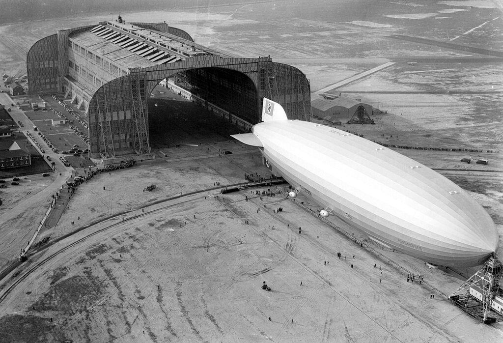 Hindenburg at the U.S. Navy hangar - Lakehurst, New Jersey.jpg