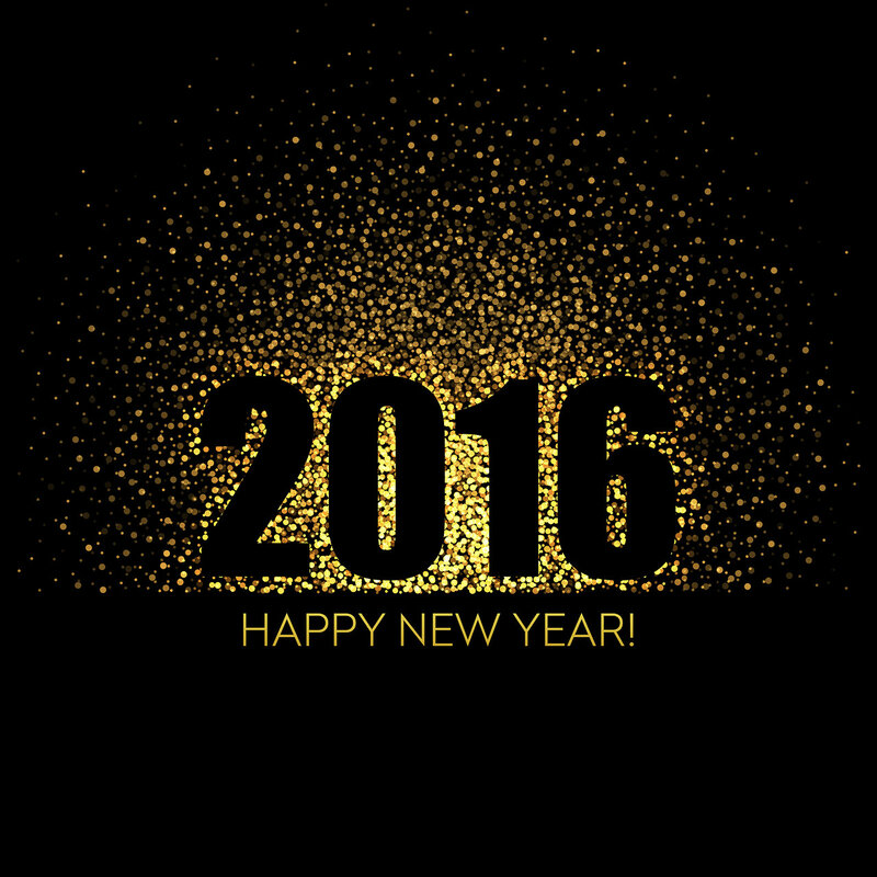 2016 Happy New Year glowing background. Vector illustration
