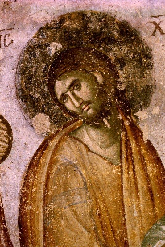 """Спаситель. Фрагмент фрески """"Успение Пресвятой Богородицы"""" в монастыре Сопочаны, Сербия. XIII век."""