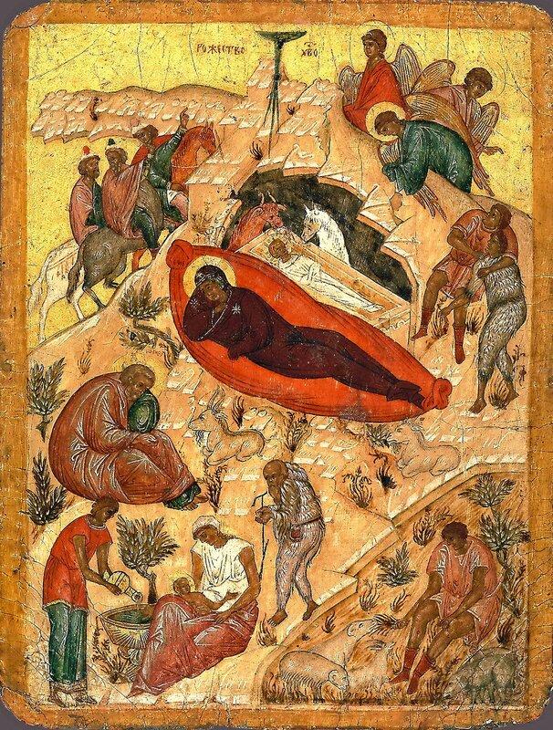 Рождество Христово. Икона. Новгород, XVI век.