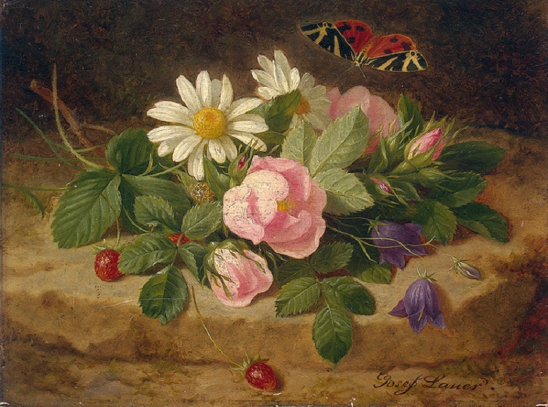 Josef Launer (Mid 19C Austrian artist) Bouquet of Flowers with a Butterfly.jpg