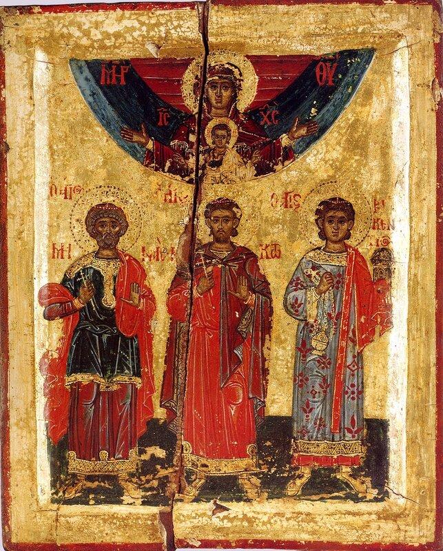 Святые Великомученик Мина, Мученики Виктор и Викентий. Икона XVII века в монастыре Хиландар на Святой Горе Афон.