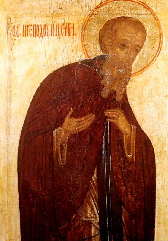 Святой Преподобный Савва Освященный. Фрагмент иконы. Псков, XV век.